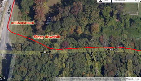 Satellite view of traffic avoidance via dead (or cut) kudzu riding - whole line of cars to watch me go over the handlebars if I messed up, but it was all good