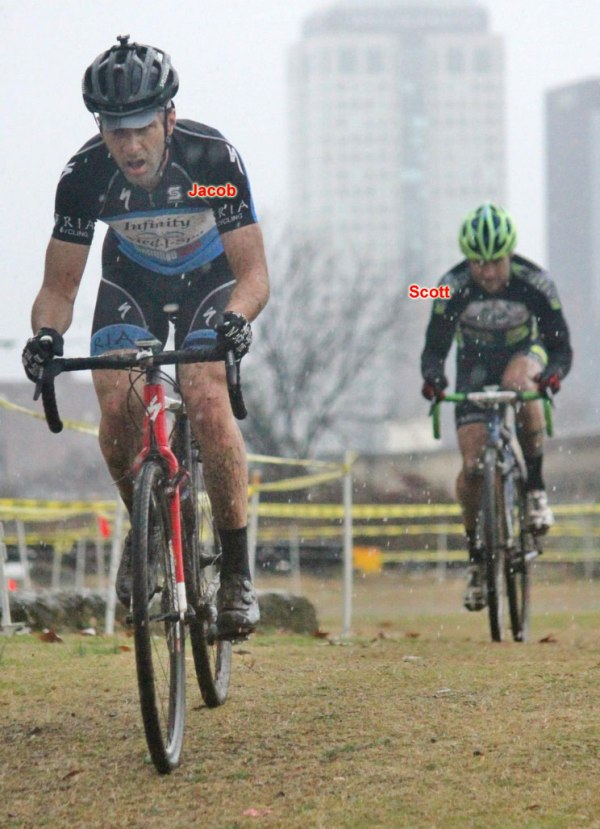 Paul Roberts photo of Jacob Tubbs and Scott Staubach at a pivotal moment of the Masters 35+ race with downtown Birmingham visible in the background
