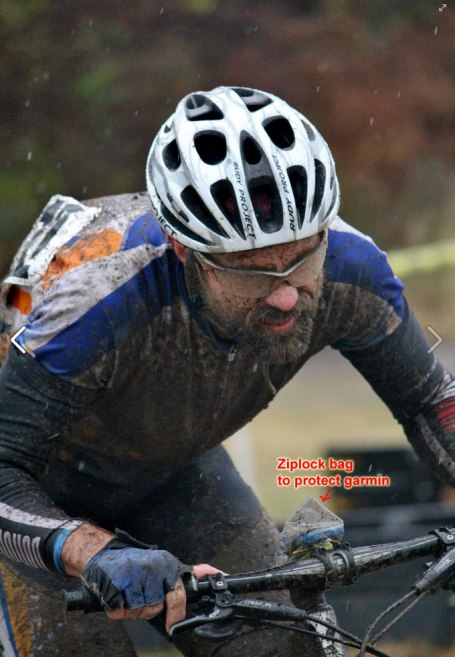 Paul Roberts picture of me through the mud. Note the ziplock bag to protect the garmin.