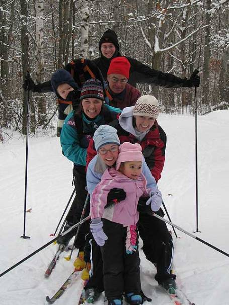 Family ski 2007 - from front to back - Analise, Aunt Anna, Aunt Kat, Kristine, Josiah, Papa Dale, and Uncle Hal. I was out there too, but I took the picture.