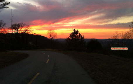 Sunset from top of Smyer Circle looking towards Vestavia Dr with Samford University in the valley below.