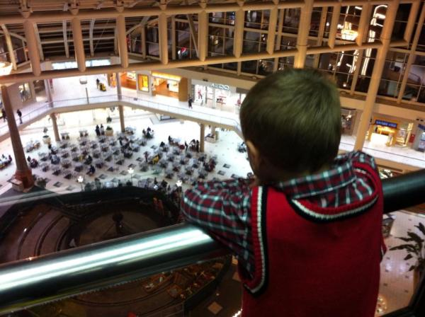 Riding the free roller coaster at the mall (up to the 17th floor a couple times in glass elevator)