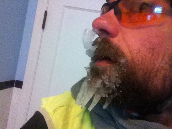 Frozen snotcicle and beardcicles from the side