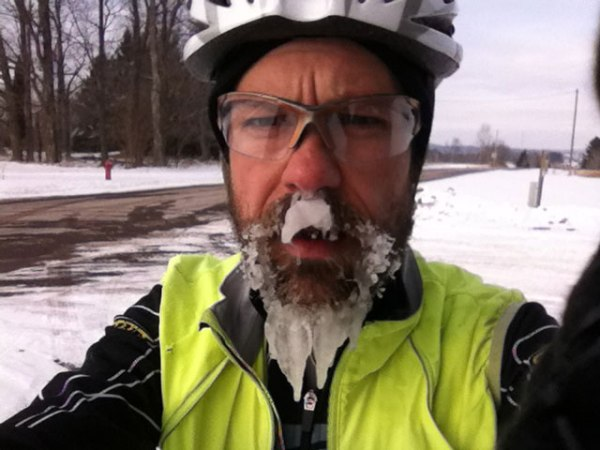 Long ice beard in Weyerhauser with Blue Hills I had just ridden through in the background