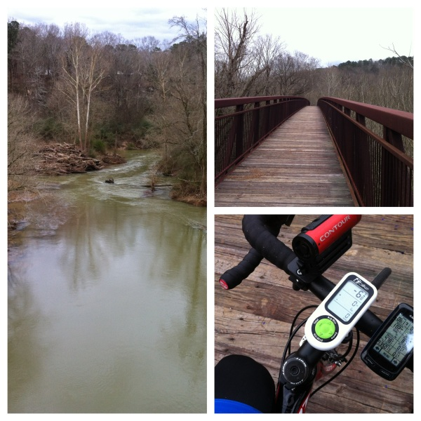 Cahaba river pedestrian bridge behind the ballfields (plus iBike Newton pic)