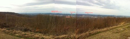 View of downtown Huntsville and the Space and Rocket center from the top of Monte Sano