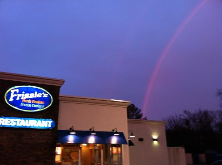 Rainbow over our dinner choice (Frizzie's)