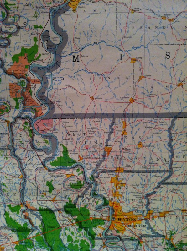 Louisiana wall map zoomed in to the location of the race