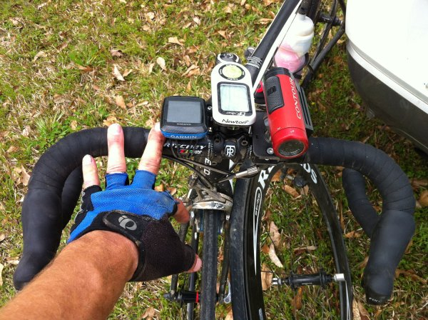 Immediately post race, getting a picture of my sliced hand and flat tire