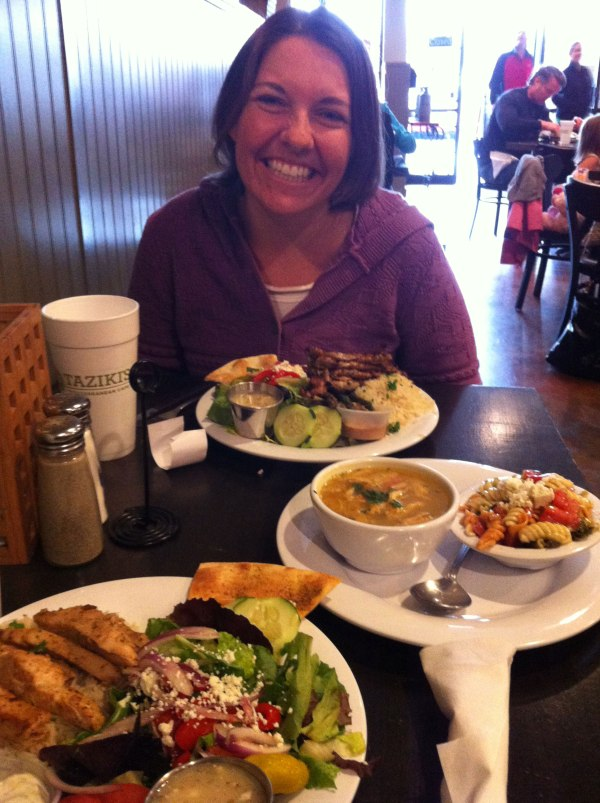 Kristine and I had an impromptu lunch date at Taziki's so I could pick up my wallet from her.