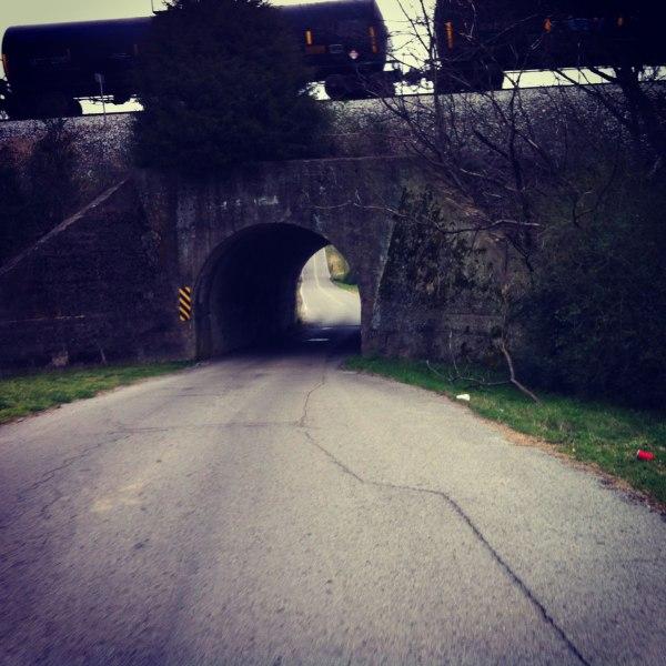Railroad tunnel plus train