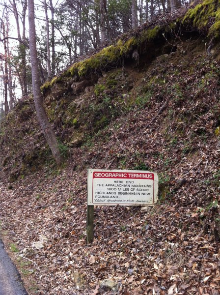 Sign marking the end of the Appalachian Mountains.