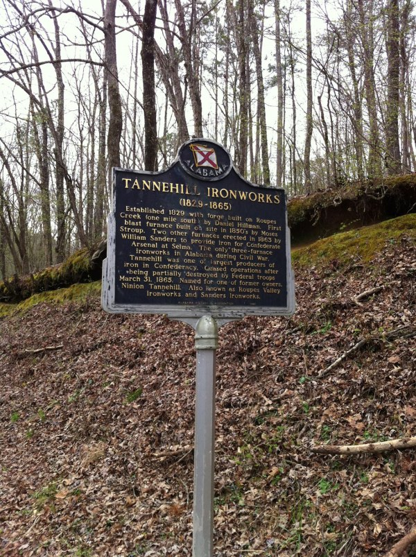 Informational sign about the civil war era history of the ironworks.