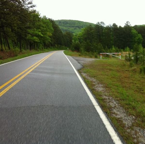 Cut for the Moorman Mountain gravel climb (dark line on side of mountain)