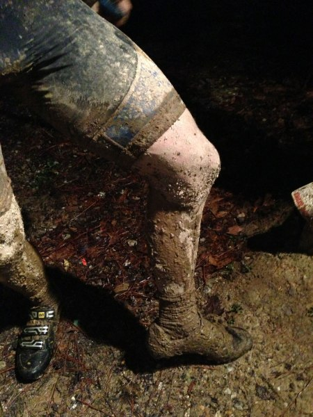 Muddy legs after the race