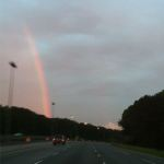 A rainbow on the drive home after Kristine came and picked me up in Talladega
