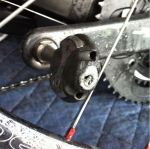 Yes, that's the speedplay grease port screw turned sideways inside the pedal.
