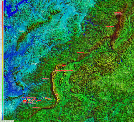 Skyway Epic course and ridge line annotated all the way to Mt Cheaha (click to enlarge)