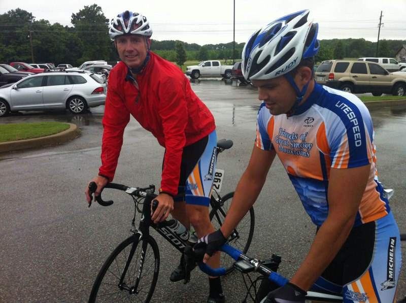 Kurt and John ready to roll in the rain