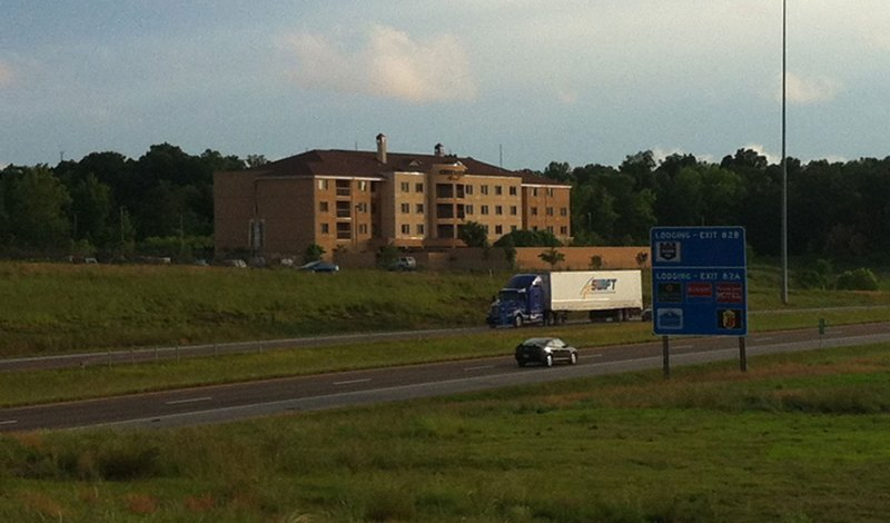 View of our hotel and I-40 on the ride back from the TT