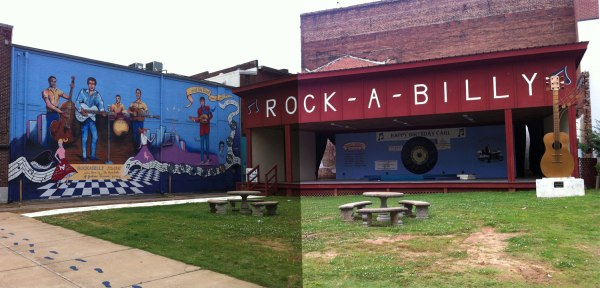 Panorama pic of a cool rockabilly mural and stage in downtown Jackson, TN