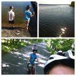 Morning run/ride with Kristine and the kids