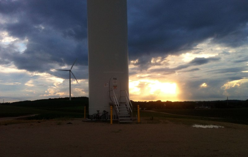 Windmills and the setting sun