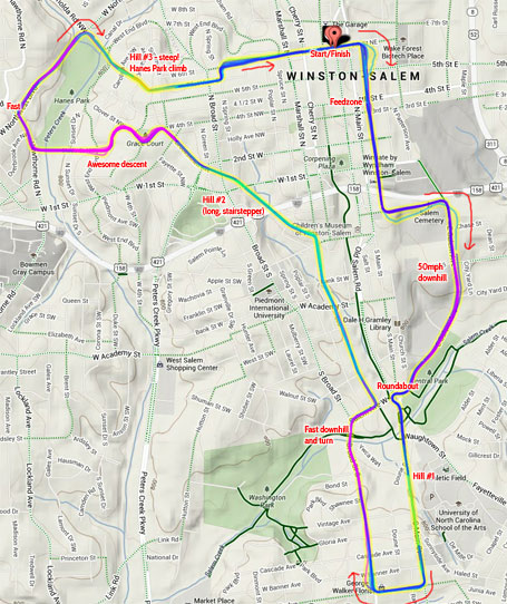 Winston-Salem Classic Pro/1/2 road race power map - click to enlarge