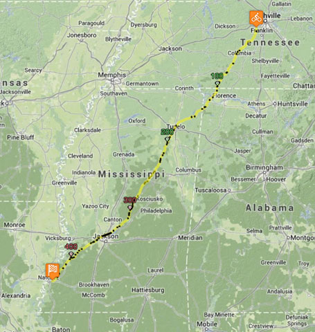 Natchez Trace map from north to south (click to enlarge) #epic444