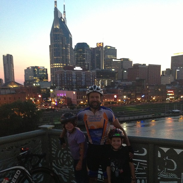 Me with the kids on the pedestrian bridge over the Cumberland River doing some fun cool-down riding