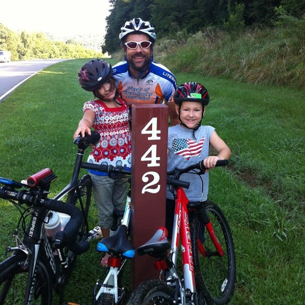 Me and the kids at the first mile marker on the trace - MM442. But there is a mile long entrance ramp to get to this point and then another exit ramp at the Natchez end to bring the total up to 444 miles