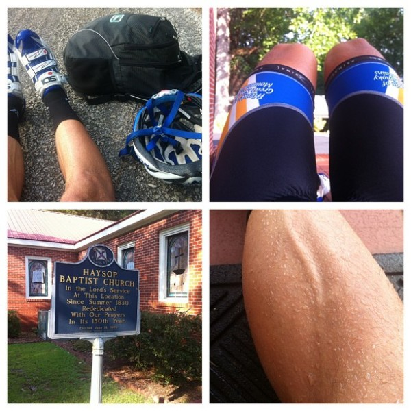 Day 6 - resting, exhausted, in the road and on the front stoop of 183 year old haysop baptist church