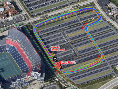 Power map showing the flexibility Tim has in designing the course in the giant parking lot for the Tennessee Titans