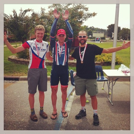 2013 Alabama State Time Trial Pro/1/2 podium - Payne Griffin (Marx and Bensdorf), Mike Olheiser (Cashcall), and Brian Toone (Friends of the Great Smokies)