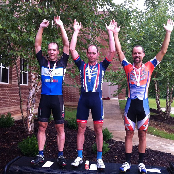 Alabama State Criterium Pro/1/2 podium (Left to Right) - Paul Tower, Mike Olheiser, and Brian Toone