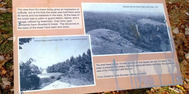 The fire tower informational sign