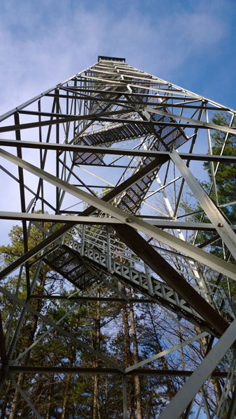 Standing at the bottom looking up the 110 foot fire tower