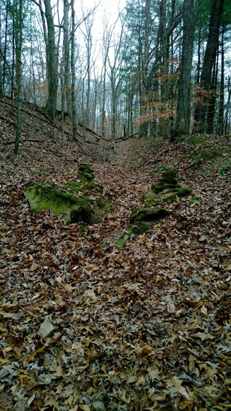 Trail climb with stone pile markers