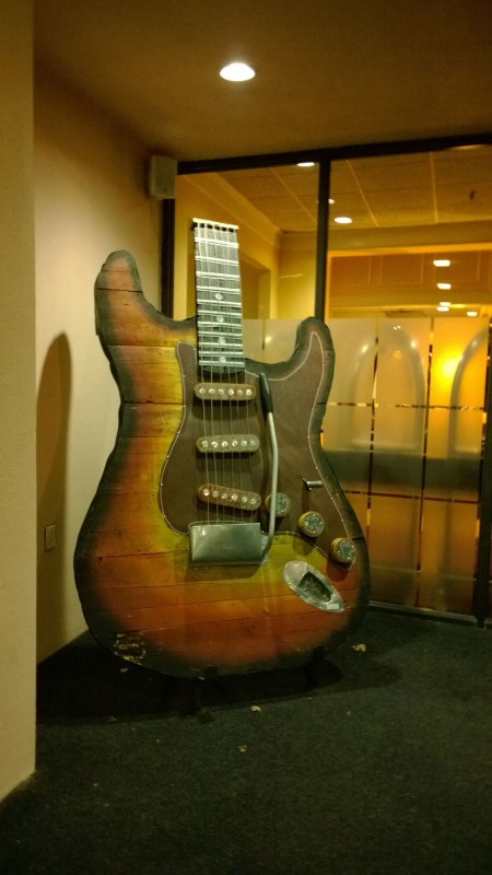 Giant guitar outside the hotel lobby