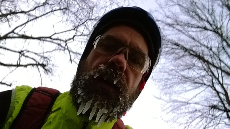 About 3 hours into my attempt to ride from Nashville home to Birmingham, I took this picture while riding of my frozen beard. I was actually quite warm except for my feet.