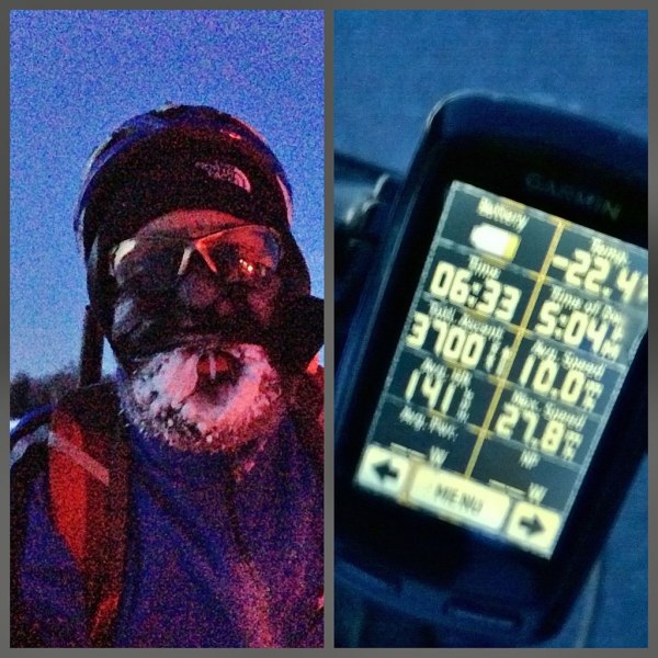 Finishing the festive 500 in the cold and dark.