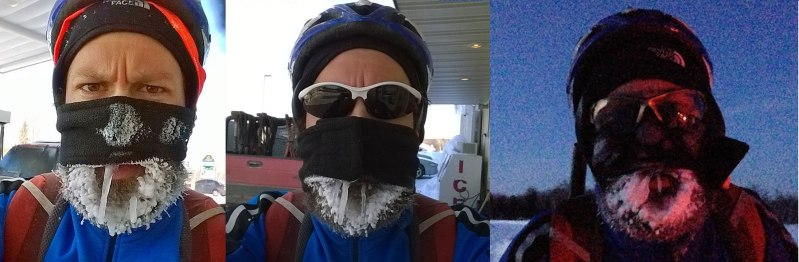 Three separate frozen beards for this final ride to finish the festive 500. Keep in mind that the ice was completely melted between warming stops, so those are new frozen beards each time! The first one was at my first warming stop 1 hour 47 minutes into the ride without stopping. The middle one has two walrus tusks! Kristine took the last one when I called her to come get me with only a few miles to make it back to the house.
