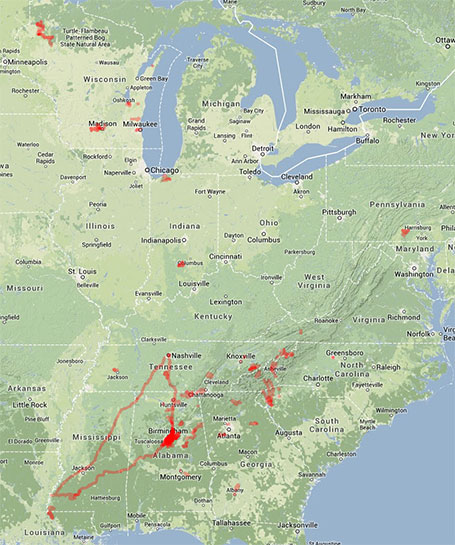 All of my riding during 2013 - approx 20,500 miles in 11 states. I rode in Virginia and Pennsylvania this year for the first time in a long time. But noticeably missing are Illinois, Michigan, and Florida which somehow I didn't ride in at all in 2013! (click to enlarge)