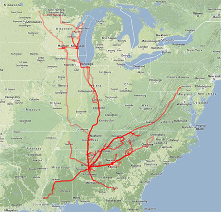 Road trips for racing and / or training (2013) - click to enlarge