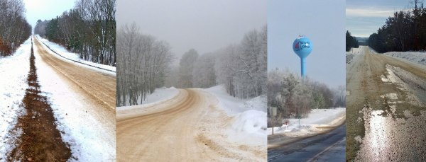 Various road conditions on the route from Shell Lake to Heartwood