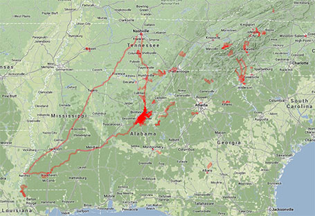 All of my riding and racing in the South in 2013 (click to enlarge and see additional detail)
