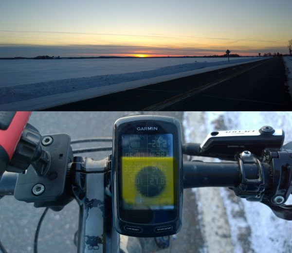 Sunset on the final day, plus my Garmin showing -20 degF with my Nokia Lumia 1020 in the background