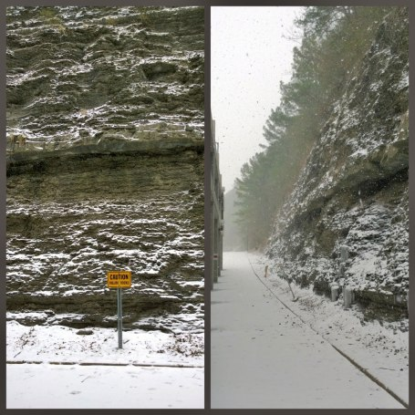 Tues 1/28 @ 11:18AM - Brookwood cliffs. As I ride behind Brookwood mall next to the cliffs, I am absolutely frozen but I stop to take pics of the icicles and the snow accumulating on the cliffs.