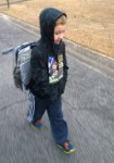 Tues, 1/28 @ 7:23AM - cold walk to school. Analise wakes up sick and stays home with Kristine, so I walk Josiah to school. It is very cold and windy, but no flurries. Our expectations at this point are that we might see a few flurries sometime during the day.