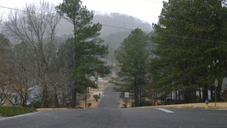 Tues, 1/28 @ 9:54AM - heavy flurries. By the time I make it to the Green Valley roller coaster at the base of Bluff Park, it is snowing much harder and making the streets wet. I start to treat the ride and corners the way I would on a rainy day.